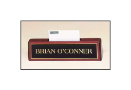 The Entrepreneur #541 is a rosewood piano finish desk name plate with business card holder.