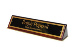 572 Tropar rosewood piano-finish desk nameplate