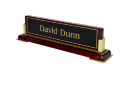 The Elete is an upscale desk nameplate for the executive.